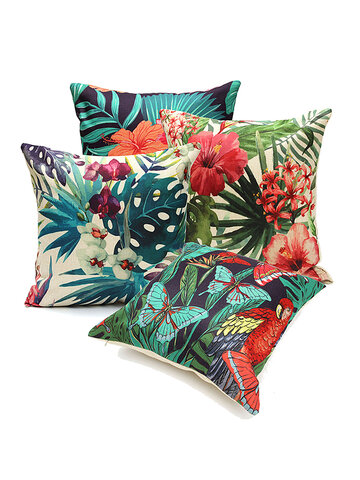 <US Instock>Throw Pillow Case Cover 18''x18'' Tropical Plant Linen Decorative Pillow Cover Protector Cushion Cover With Zipper For Couch Sofa Patio Chair Bedroom Home Car Decor