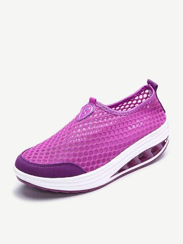 Sapatos de malha respirável plataforma sólida sapatos esportivos casuais skate agitar