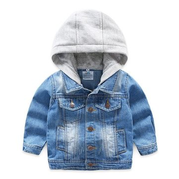 Cowboy Hooded Single Breasted Jacket, Blue