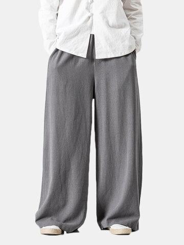 Pantaloni palazzo in cotone con coulisse