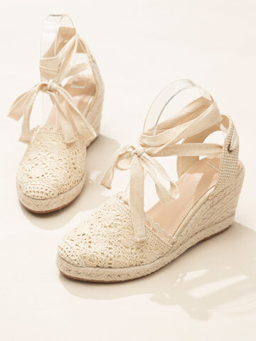 Lace Closed Toe Cross Strap Espadrille Wedges