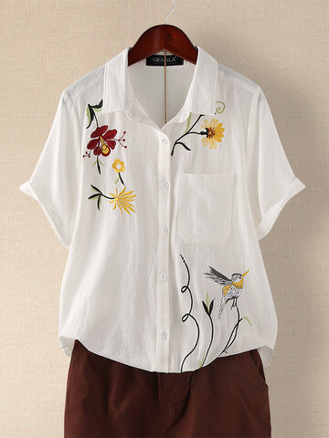 Vintage Embroidery Floral Blouse