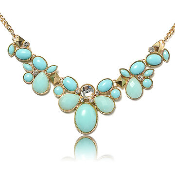 Oval Stone Collar Statement Necklace