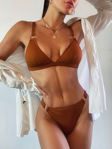 Solid Color Rib Ring Linked Bikinis