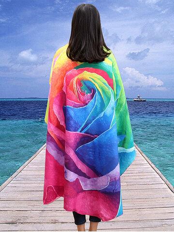 Honana WX-89 147cm 3D Simulation Rose Beach Towel Romantic Women Bath Towel Scarf Bed Sheet Tapestry