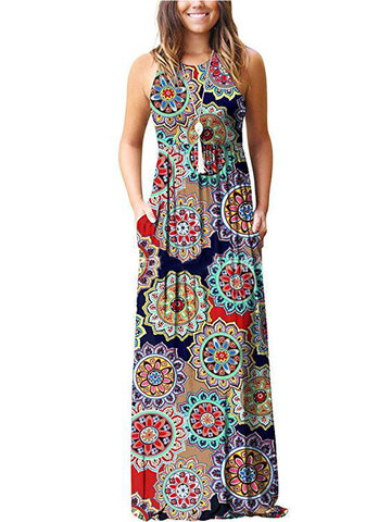 Ethnic Floral Halter Maxi Dress