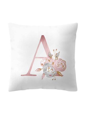 Linen Cotton Pink Alphabet ABC Printing Throw Pillow Cover