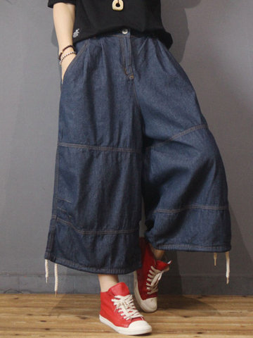 Wide Leg Drawstring Denim