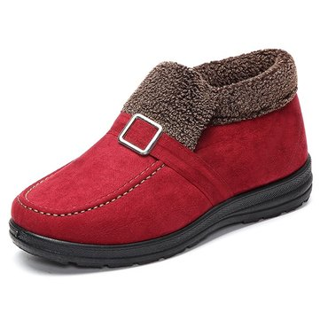 Buckle Warm Fur Lining Casual Slip On Flat Winter Boots, Yellow red black coffee