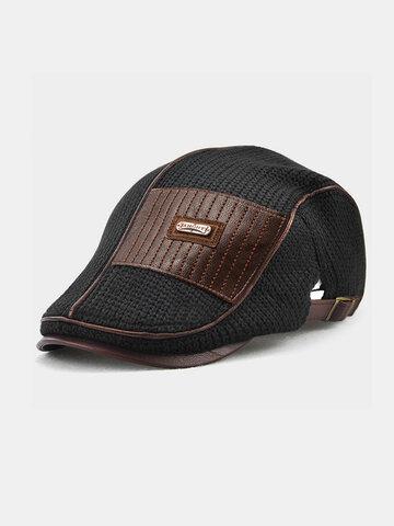 COLLROWN Men Leather Patchwork Color Beret Hat
