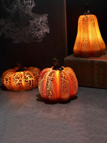 1 PC Halloween Pumpkin Lamp Simulation Pumpkin LED Candle Resin Light Ornaments Pumpkin Luminous Decoration Layout Props