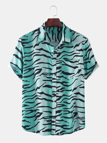Gradient Zebra Print Casual Holiday Shirt