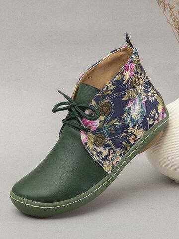 LOSTISY Flowers Pattern Flat Ankle Boots
