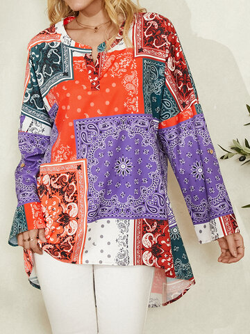 Ethnic Print Curved Casual Blouse
