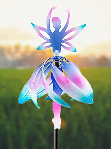 1 PC Metal Fairy Ballerina Wind Spinner Color Gradient 3D Cute Ballet Elves Windmill for Garden Decoration Gift Camping Decoration Wind Sculptures