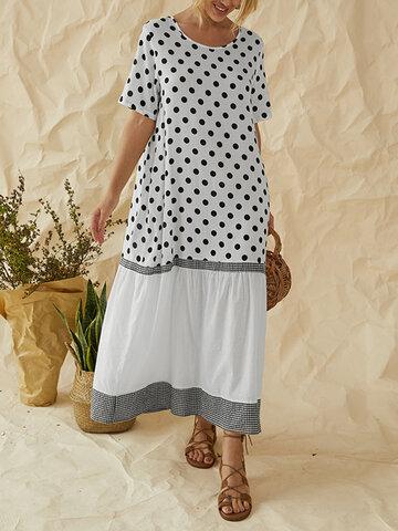 Polka Dot Plaid Patchwork Maxi Dress