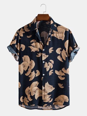 Vintage Leaf Print Button Up Shirts