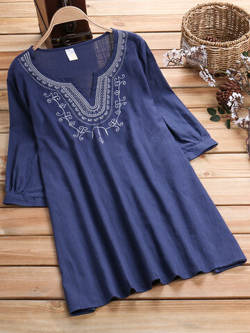 Casual Embroidered Blouses, Blue apricot