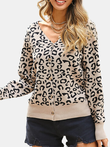 Leopard Print V-neck Long Sleeve Cardigan
