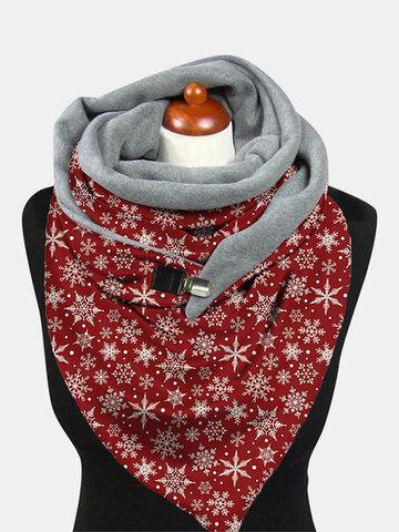 Women Christmas Snowflake Pattern Printed Thickened Warm Scarf Shawl