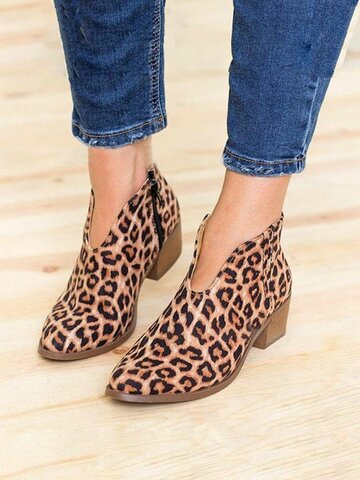 Suede V Shape Zip Ankle Boots