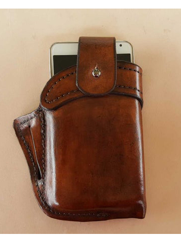 Men Genuine Leather 6.3 Inch EDC Retro Short Cell Phone Case Belt Bag