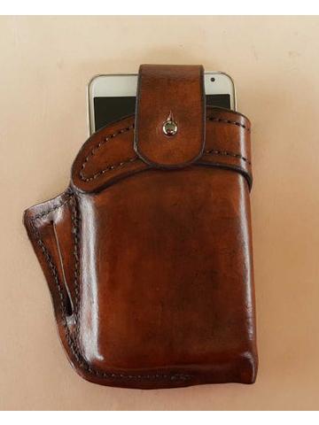 Мужчины Натуральная Кожа 6.3 дюймов EDC Retro Short сотовый телефон Чехол Ремень Сумка