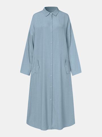Solid Color Lapel Shirt Dress