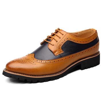 الرجال منحوتة Leatehr الربط البروغ أحذية رسمية