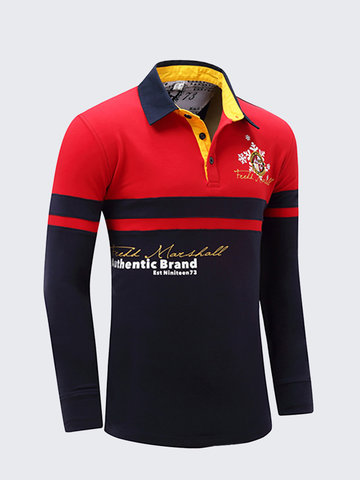 Stitching Color Casual Cotton Golf Shirt