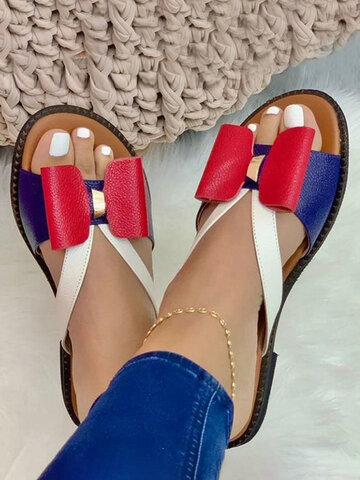 Color Splicing Bow Flat Slippers