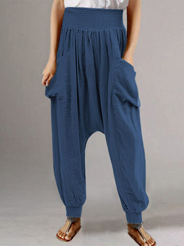 Drop-crotch High Elastic Pants
