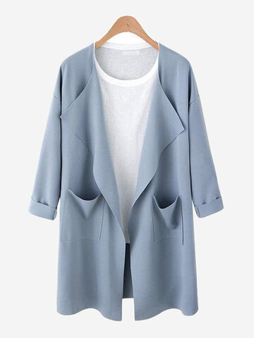Solid Color Long Sleeve Trench Coat