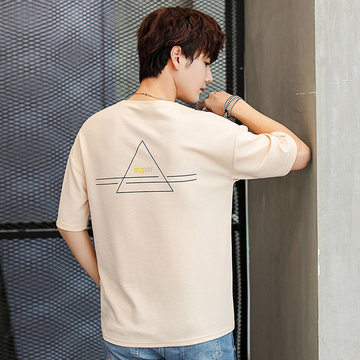 Season New Men's Short-sleeved T-shirt Round Neck Bottoming Shirt Youth Half-sleeved Loose Pullover Tide