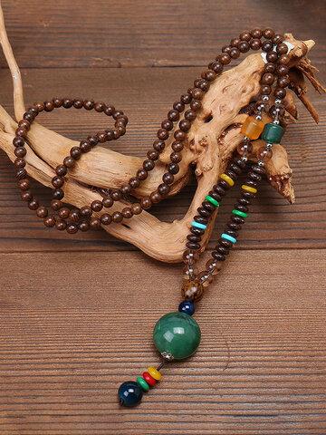 قلادة طويلة مصنوعة يدويا من الخرز بوذا