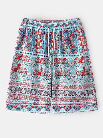 Ethnic Floral Print Drawstring Shorts