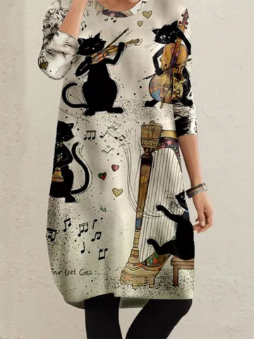 Cats Performing Print Midi Dress
