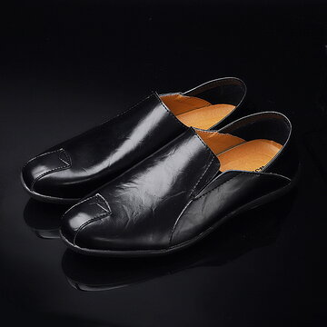 Men Leather Breathable Casual Driving Loafers