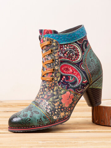 Socofy Paisley Pattern Leather Ankle Boots