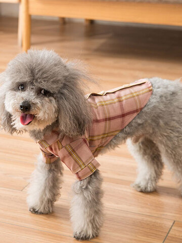 Autumn Winter Pet Clothes Plaid Cotton Clothing Thick Small Dogs Dog Warm Lamb Cashmere Cat Clothing