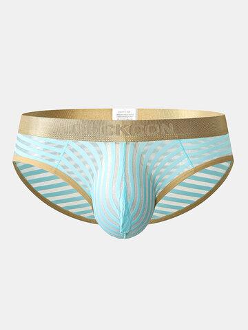 See Througt Stripe Briefs Gold Belt Sexy Pouch Underwear for Men