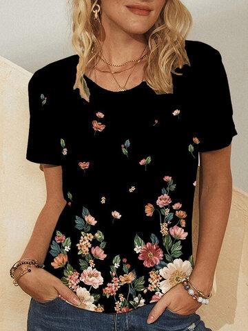 Floral Print Casual T-shirt