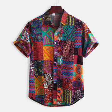 Mens Ethnic Style Floral Printing Short Sleeve Shirt