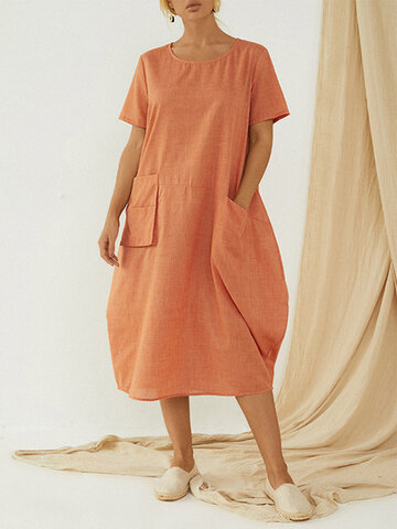 Casual Pockets Baggy Dress