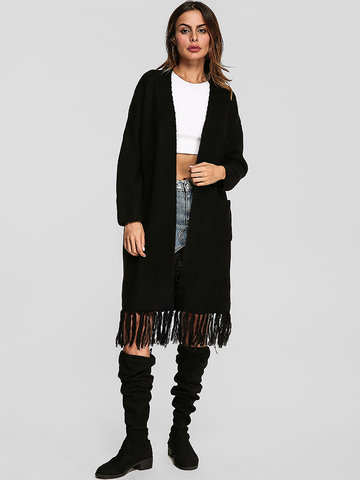 Tassel Hem Women Long Cardigans, Black
