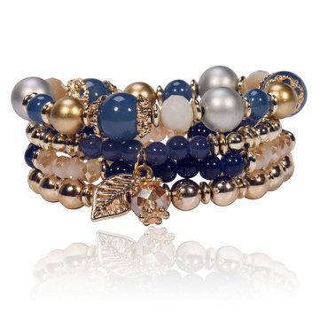 Braccialetto a Multistrati con Perline di Cristallo