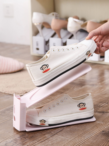 プレーンなダブルデッキ調節可能な靴ラック防塵
