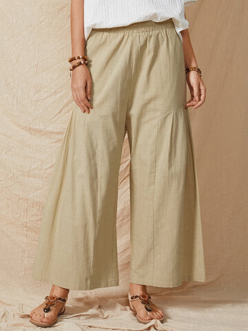 Solid Color Casual Flare Pants