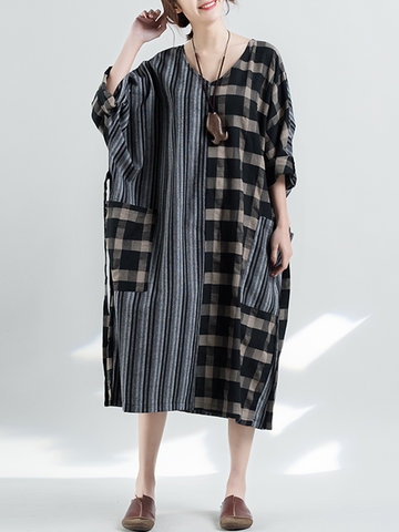 Loose Striped Plaid Stitching V-Neck Dress, Stripe