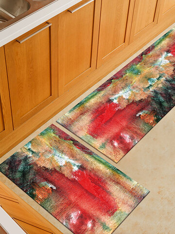 Watercolor Painting Pattern Soft Anti-slip Door Blanket Rug Carpet Kitchen Floor Mat Indoor Outdoor Decor